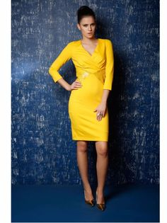Embrace the sunny colors of summer with this trendy bright Yellow Dress, With Leather Cut Work by Omorfos. The Leather Cut design allows you to go beyond the conventional while the simplicity of the cut keeps you classy.