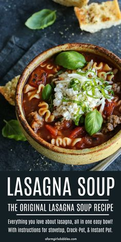 This easy Lasagna Soup has everything you love about lasagna, all in one bowl! It's the original lasagna soup recipe and the ultimate comfort food with a fantastic ooey-gooey cheesy yum. Recipe includes directions for stovetop, Crock-Pot, and Instant Pot! Soup Recipes, Dinner Recipes, Cooking Recipes, Pasta Recipes, Cooking Ideas, Recipies, Lasagna Soup, Hearty Recipe, Pot Recipe