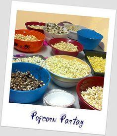 Popcorn Party!  *Gooey Caramel Popcorn  *Pineapple Pleasure Popcorn  *Chocolate Marshmallow Popcorn  *Nuts about Peanut Butter Popcorn  *Barbeque Popcorn  *Mmua Italiano Popcorn    *Cinnamon Sugar Delight Popcorn  *Rancheritto Popcorn  *Taco Mexicano Popcorno