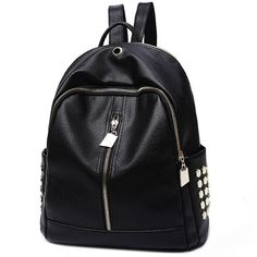 How nice Leisure Black PU Lichee Pattern Punk Rivet Zipper School Headphone Hole College Backpack ! I want to get it ASAP! Lace Backpack, Retro Backpack, Backpack For Teens, Leather Backpack, Diaper Backpack, Diaper Bags, Backpack Bags, Boys Backpacks, School Backpacks