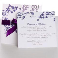Porte Jolie Faire Part de Mariage Unique Violet Romantique JM140