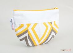 Annie Slub Yellow & Kelp Pleated Make Up Bag by sugarrushcreative, $10.00