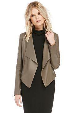 BB Dakota Tyne Leather Jacket in Taupe S - M | DAILYLOOK