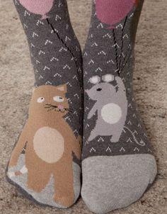 Cat and balloon print socks - Socks - Accessories - United Kingdom