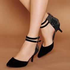 """mark. On the Double Heel. Genuine suede and faux leather black heels. 2 1/2"""" H kitten heel. Half sizes order up. Shop and buy Avon heels and fashion products online at http://www.youravon.com/jennyhollenbeck"""