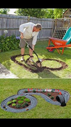 DIY Projects for Kids Inspired by Race Car Tracks 2019 Great way to get them playing outdoors! The road is cement which has been painted black. The post DIY Projects for Kids Inspired by Race Car Tracks 2019 appeared first on Backyard Diy. Diy Projects For Kids, Outdoor Projects, Garden Projects, Diy For Kids, Crafts For Kids, Kids Fun, Backyard Projects, Diy Garden Ideas For Kids, Diy Ideas