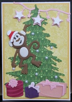 Kaarten & co Christmas Art, Xmas, Marianne Design, Animal Cards, Monkey, Kids Rugs, Cards, Yule, Monkeys
