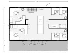 Commercial Office Container Floor Plan Total Square Footage: 640 sf; Two 40' Shipping Containers