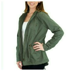 """Green Utility Jacket Beautiful olive green utility jacket, lightweight with upper zipper pockets, large side pockets with velcro closure, drawstring waist, zipper front with top snap closure, hood with drawstring ties, rounded back hem with drawstring at bottom back. 100% cotton, measures 26"""" from shoulder to hem. Pair with khakis, lightweight top & colorful handbag for a casual spring look. BUNDLE & SAVE 15%, OFFERS WELCOMED Relished Jackets & Coats Utility Jackets"""