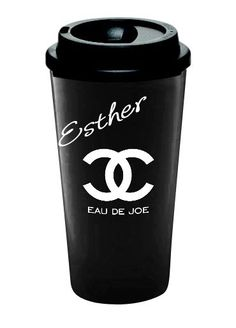 """THE """"EAU DE JOE"""" TRAVEL MUG    A Chic and Fun way to have your morning coffee or tea on the GO!!  Customize with your own name, just like the famous coffee houses.    The double-wall tumbler keeps your favorite drinks fresher for your drinking pleasure.     Made of polypropylene, and has an 16 oz..."""