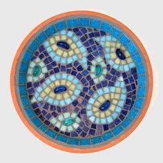 Blue Paisley Mosaic Garden Bird Water Bath Ornament by JoSaraUK