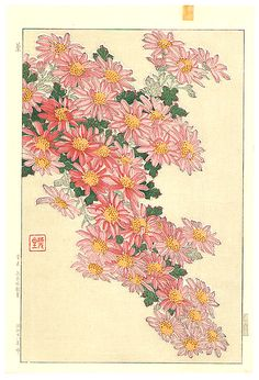 Chrysanthemum Cascade - by Shodo Kawarazaki 1889-1973