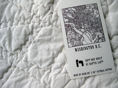 Queen-sized quilted map of Washington, DC showcasing L'Enfant's Baroque urban planning scheme