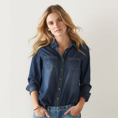 Women's SONOMA Goods for Life™ Essential Chambray Shirt, Blue