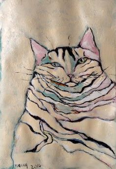I Love Cats, Crazy Cats, Watercolor Cat, Cat Colors, Cat Drawing, Whimsical Art, Dog Art, Pet Portraits, Female Art