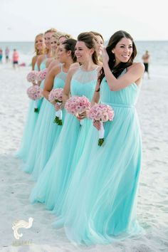 Illusion Halter Tulle Turquoise Bridesmaid Dresses for Beach Weddings Bridesmaid Dress Bridesmaid Dresses 2018 Beach Wedding Bridesmaid Dresses, Turquoise Bridesmaid Dresses, Beach Dresses, Wedding Turquoise, Tiffany Blue Bridesmaids, Dress Wedding, Tiffany Blue Weddings, Beach Bridesmaids, Bridesmaid Outfit