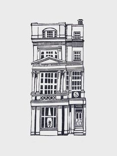 Jeff Josephine Designs News: Linocut Houses 1 - 5 Black And White Building, Black And White Drawing, Black And White Illustration, Building Illustration, House Illustration, Illustrations, Building Drawing, Building Art, House Drawing