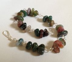 India Agate Beaded Bracelet by wrappedandwired on Etsy, $20.00