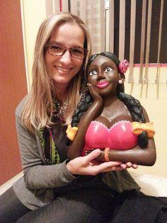 Pintura sobre escultura em gesso - Boneca namoradeira - para uma amiga