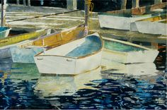 "boats friendship maine (8) 16"" x 22"" micheal zarowsky watercolour on arches paper / private collection"