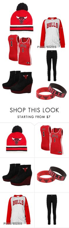 """""""CHICAGO BULLS"""" by shaniamelville-1 on Polyvore featuring Mitchell & Ness, adidas, Forever Collectibles, Majestic and plus size clothing"""