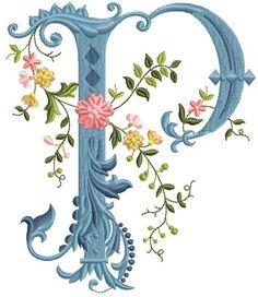 alfabeto celeste con flores P