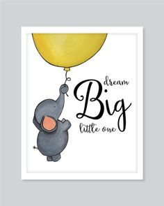 A watercolor painting of an adorable elephant and balloon with a fun quote for…