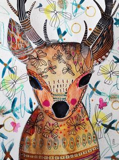 Deer Painting  Animal Art  Nature  Original par CelineArtGalerie