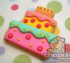 Bright and happy cake cookie!  Love the detail on the candles.