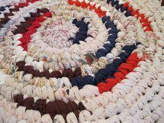 Rag Rug Round Handmade Crochet Shabby Multi Color Rustic Multi Colo #handmade