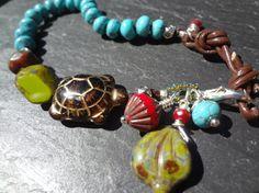 Turquoise Turtle Bracelet Boho Chic Beach by FeminineGenius, $24.00