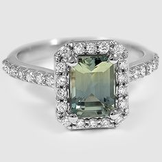 18K White Gold Sapphire Fancy Halo Diamond Ring with Side Stones // Set with a 7.5X5.5mm Emerald Green Sapphire (From Unique Colored Gemstone Gallery)