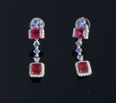 William Noble   Estate Jewelry   Earrings   Red Beryl & Yogo Sapphire Earrings Sapphire Earrings, Drop Earrings, Gemstone Jewelry, Lotus Jewelry, Rare Gems, Diamond Are A Girls Best Friend, Red Purple, Red Christmas, Christmas Wedding