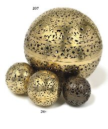 A LARGE PIERCED BRASS INCENSE BALL PROBABLY DUTCH EAST INDIES, CIRCA 1830