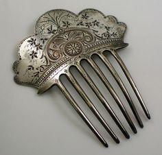 Antique  Silver Hair Comb