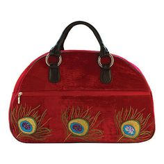 This exquisite carry- on bag is the ultimate in luxury travel; featuring a velvet and silk outer, it is embellished with the divine new hand embroidered Peacock design. Peacock Design, Carry On Bag, Crushed Velvet, Luxury Travel, Travel Bags, Red Velvet, Feather, Accessories, Silk