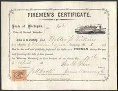 Firemen's Certificate - 1860s
