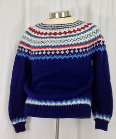 Vintage Norwegian sweater Dale Red White by momandpopcultureshop
