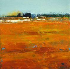 "SEDONA CLIFFS VIII- Contemporary Abstract Landscape Painting by Cristina Del Sol Mixed Media ~ 6"" x 6"""