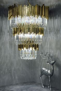 MI-GO 米高  不锈钢镜面钛金&水晶不规格排列吊灯Stainless steel mirror titanium gold & Crystal not size arrangement lamp
