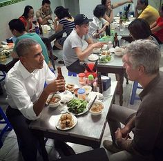 """US President Barack Obama slipped away from his hectic Vietnam visit to sample """"bun cha"""", or fatty pork noodle soup, at a Hanoi restaurant on Monday evening with chef Anthony Bourdain, who fronts a well-known travel show about culinary gems around the world. Mr Bourdain posted a picture of the dinner on his Instagram feed with the caption, """"The President's chopstick skills are on point'  Photo : Anthony Bourdain/Instagram @anthonybourdain #anthonybourdain #presidentobama #obama #vietnam…"""