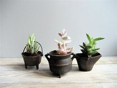 Set of Three Mini Cast Iron Pots by lovintagefinds on Etsy  #countryliving #dreamporch