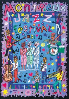 Montreux Jazz Festival 1997 FFJM © 1997 James Rizzi #jazz #jazzposters #jazzfestivals