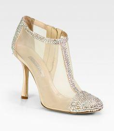 Oscar de la Renta ~ Embellished Satin and Mesh Ankle Boots