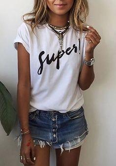 Camiseta el monograma de cuello redondo manga corta floja ocasional blanco