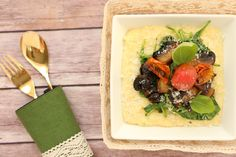 Polenta with White Cheddar, Chard and Wild Mushrooms. Beautiful Italian polenta cooked to perfection topped with juicy chard and fresh mushrooms .