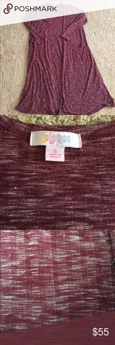 LuLaRoe Sarah size Small Cranberry Heathered LuLaRoe Sarah size Small Cranberry Heathered. Only warn and washed once. Never put in dryer. LuLaRoe Sweaters Cardigans