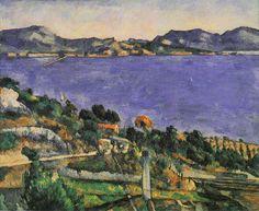 """Le golfe de Marseille vu de l'Estaque, 1878-1879, huile sur toile, 58 x 72 cm. Musée d'Orsay, Paris. Cette toile illustre le remarquable principe de la """"profondeur plate"""" cher à Cézanne."""