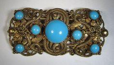 Vintage Czech Brooch Pin Gold Tone Filigree Blue Stone