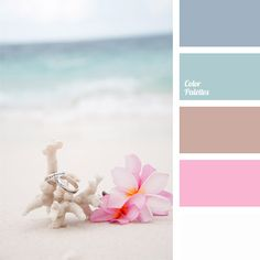 Nice, soft and tender palette, it combines cold blue and warm pink pastel shades and hues. This palette is classic in wedding decoration, starting from clothing an up to decoration of the entire venue.